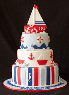 Nautical christening cake, via Flickr.