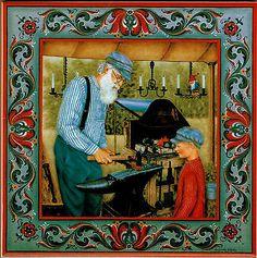 """NorwegianTrivet Tile: """" Master Blacksmith"""" 6"""" X 6"""" , Cork Backing"""