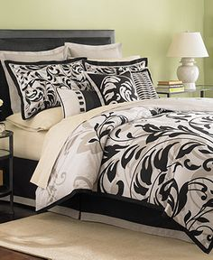 Martha Stewart Collection Bedding, Ink Scroll 3 Piece Completer Set - Bed in a Bag - Bed & Bath - Macy's