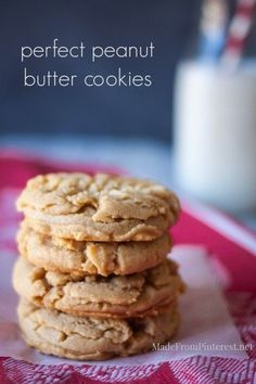 Perfect Peanut Butter Cookies. So soft they practically melt in your mouth! | MadeFromPinterest.net