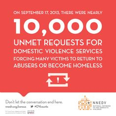 On September 17, 2013, there were nearly 10,000 unmet requests for domestic violence services forcing many victims to return to abusers or become homeless. #DVcounts | design by @Andria Waclawski  | DV Counts Census infographic and briefing supported by the @Avon Foundation