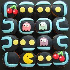 pacman, pac man, birthday parties, cupcake designs, old school, 80s party, video games, boy birthday, cupcake cakes