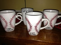 Sharpie mug baseball softball coach gift. Fathers / Mothers Day. Dollar store mug. Stitches should go up on one side and down on other (oops). Add team name and year on back. Have kids sign all around. Add their player # by name.  (Mistakes erased w alcohol n cotton ball. Place in cold oven, bake 350, 30 mins, allow to cool in oven. Fill w pens/candy/gift cert/etc.