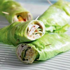 Healthy Turkey & Cucumber Lettuce Wrap - iceberg lettuce, sliced roasted turkey, cucumber, hummus, paprika