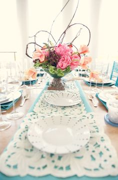 lovely table setting with lace runner