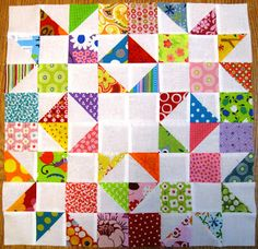 Happy Quilting: The lazy scrap HST tutorial and bee block