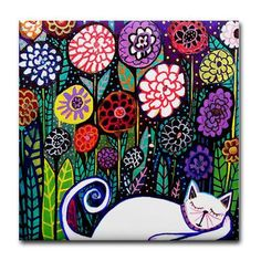 Ceramic Tile Coasters -Cat Folk Art Print on Ceramic Tile Folk Art Colorful Gift