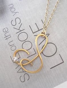 Custom Letter Necklace with Crystal 14k Gold by CrystalBlue07, $36.50