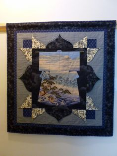 Kimono quilted wall hanging blue and grey Japanese scene