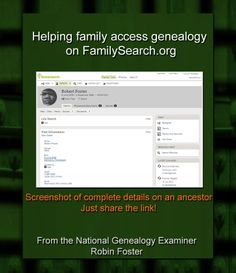 Sharing has never been easier! Helping family access genealogy on FamilySearch.org http://www.examiner.com/article/helping-family-access-genealogy-on-familysearch-org #genealogy #FamilySearch