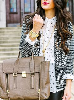Don't be afraid to mix & match prints and textures this season! Dare to wear a boucle jacket with a polka dot top and gold accessories for a chic daytime ensemble. polka dot, fashion diari, mixed patterns, outfit, mixed prints, mix print, pattern mix, mixing prints