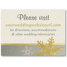 Silver Gold Snowflake Wedding Website Insert Card Business Card