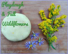 Playdough and Wildflowers. A simple and open-ended invitation to play. A perfect activity for late summer or early fall.