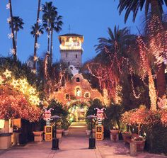 The Mission Inn in Riverside, CA, especially during Christmas. So magical.