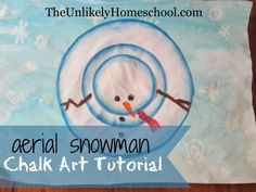 Aerial Snowman Chalk Art Tutorial-The Unlikely Homeschool kid