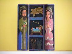 Nativity set, hand carved made in Venezuela
