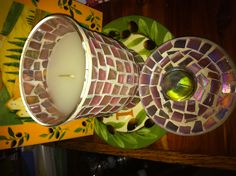 $.99. Mosaic candle with a Morning Bloom scented candle.