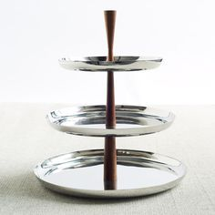 Mid-Century Modern Stainless Steel + Wood, 3-Tiered Dessert Stand.
