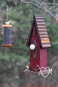 Rustic bird-feeder... birdhouses, keys, bird garden, bird feeder, gardens, rebecca bird, old doors, birds, bird hous