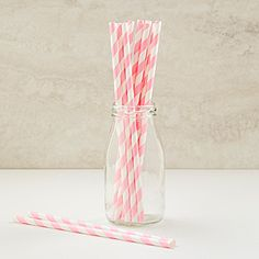 Our Pink Striped Paper Straws feature a trendy pink stripe design imprinted on these white straws. #Ballerina