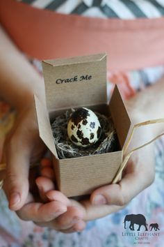 My parents (both sets) live in Florida.  Instead of calling them on the phone to announce our pregnancy, my husband and I sent them these quail eggs.  When you crack the egg open, there's a cute paper announcement inside.  They were a huge hit!