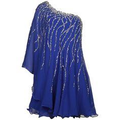 Forever Unique Women's Angel One Shoulder Sequin Embellished Sax Blue... ($260) ❤ liked on Polyvore