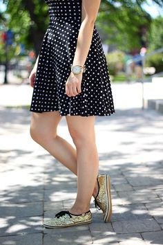 Jazz up your favorite polka dot dress with some glittery sneaks.