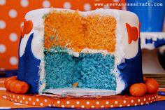 bday, birthday parties, goldfish cake, cake decorations, birthday idea