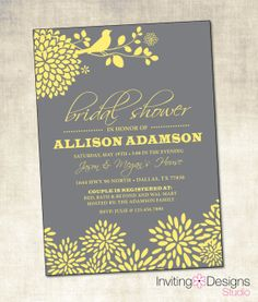 Yellow and Gray Bridal Shower Invitation (PRINTABLE FILE)