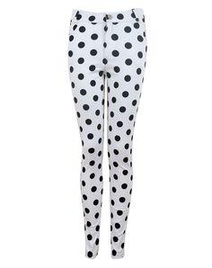 Motel Jordan Skinny Jean in Black and White Polka Dot