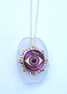 Glass Evil Eye Pendant, Designer Glass Eye Jewelry, Evil Eye Jewelry