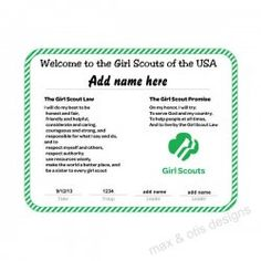 Girl Scout Rededication Certificate with green and white border for ...