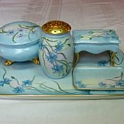 Five piece Limoges Dresser Set ~ Handpainted Blue Florals, Gilt Trim www.rubylane.com