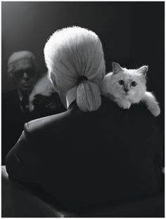 """Karl Lagerfeld. Self-portrait with Choupette. """"I never expected to fall in love like this, with a cat."""" ☚"""