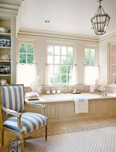 Gorgeous cream and blue bath (featured in Traditional Home)