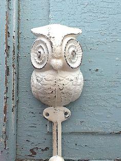 Cast Iron Owl Hook Wall Decor Farmhouse Style by CamillaCotton, $10.95