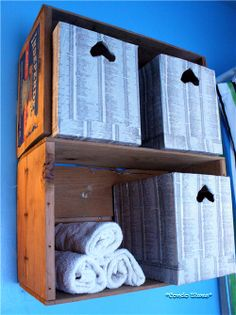 {DIY Wall Shelves} from {Repurposed Wooden Crates!} Too, cardboard boxes decoupaged in telephone book pages. I'd flip the heart opening the other way to make the perfect slots for fingers to fit in and pull out the box.