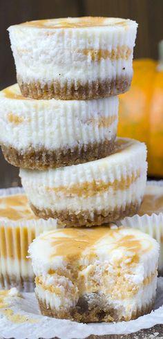 Pumpkin Swirled Cheesecakes (Mini) | OMGChocolateDesserts.com | #pumpkin #cheesecake #cheesecakes #swirl #desserts