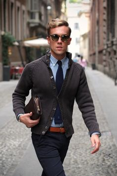 Casual office wear: cardigan, tie, Oxford, pants and warm camel accents.