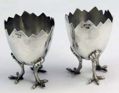 Egg shaped sterling silver salt dishes c. 1890