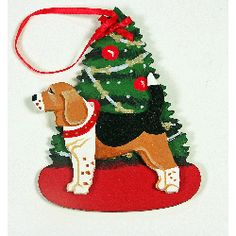 Beagle Dog Christmas Tree Wooden Handpainted 3-dimensional Christmas Ornament - USA Made.