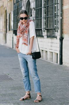 rolled denim / draped sweater / patterned scarf / sandals