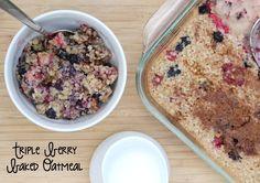 Triple Berry Baked Oatmeal that is freezer friendly! | 5DollarDinners.com