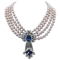 Trifari Pearl and Rhinestone Pendant Necklace