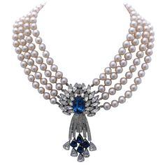 Trifari Pearl and Rhinestone Pendant Necklace