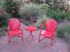 Retro Red Metal Chairs