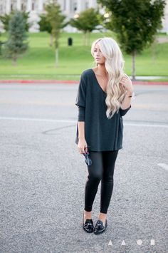 baggy sweater, leggings, loafers