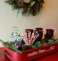 holiday, trays, idea, flyers, christmas, decorations, flyer red, radio flyer, old wagons