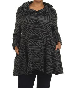 Look at this #zulilyfind! Black Wave Button-Up Jacket - Plus by Come N See #zulilyfinds