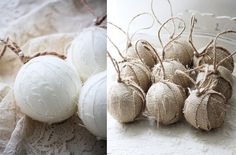 Burlap and linen wrapped Christmas ornaments